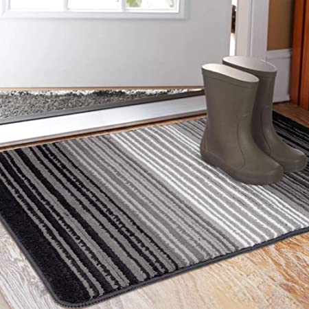 Amazon Com Aoonby Indoor Doormat 23 X 35 Absorbent Front Back Door Mat Floor Mats Rubber Backing Non Slip Door Rug Entrance Inside Mud Dirt Trapper Carpet Machine Washable Low Profile Gradient Pinstripe Home Washable throw rugs without rubber backing