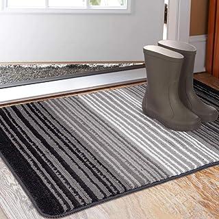 """Aoonby Indoor Doormat 23""""x 35"""", Absorbent Front Back Door Mat Floor Mats, Rubber Backing Non Slip Door Rug Entrance Inside Mud Dirt Trapper Carpet, Machine Washable Low Profile-Gradient Pinstripe"""