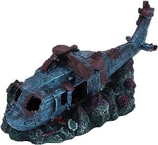 sococo Fish Tank Wreck Plane Decoration, Resin Wreck Helicopter Plane Damaged Battleplane Fish Tank Aquarium Ornament Cave...