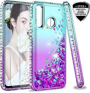 LeYi Funda Huawei P30 Lite Silicona Purpurina Carcasa con [2-Unidades Cristal Vidrio..