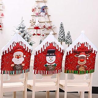 XHONG 6 fundas para respaldo de silla de Navidad, muñeco de nieve de Papá Noel Elk, fundas para respaldo de silla de comedor, para decoración de Navidad, 47 x 59 cm