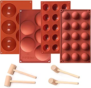 Lomodo 4 Pack Large Hole Silicone Chocolate Mold Semi Sphere Shape Mold for Making, Jello, Candy, Chocolate, Cake, Jelly, ...
