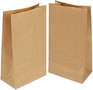 100 Piezas Bolsas Papel Kraft 9 x 18 x 5.5cm Bolsas Regalo,Bolsas Papel Pequeñas sin Asas para Chuches Bocadillos Ban Almuerzo Bocadillo Bolsa Llevar (marrón)
