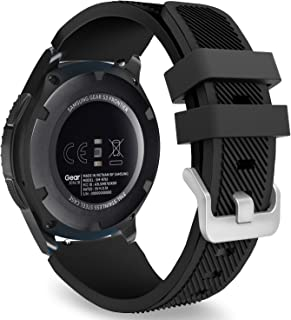 MoKo Band Compatible with Samsung Gear S3 Frontier/Classic/Galaxy Watch 46mm/Huawei Watch GT 46mm/Ticwatch pro/S2/E2, Silicone Sport Strap Fit 22mm Band, Black