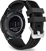 MoKo Band Compatible with Samsung Galaxy Watch 3 45mm/Gear S3 Frontier/Classic/Galaxy Watch 46mm/Huawei Watch GT2 Pro/GT 2e/GT 46mm/GT2 46mm/Ticwatch Pro 3, Silicone Strap Fit 22mm Band, Black