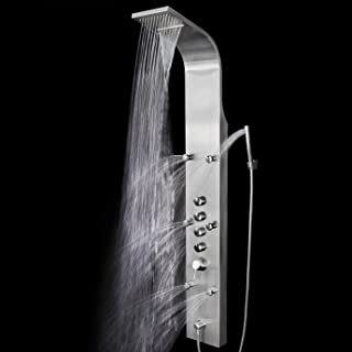 65 in. 6-Jet Shower Panel System in Stainless Steel with Rainfall Waterfall Shower Head and Handheld Shower Wand