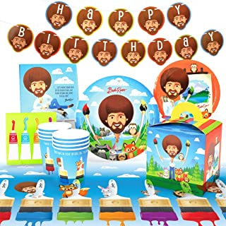 Prime Party Bob Ross and Friends Party Supplies (Deluxe) Birthday Party Pack, 74 Piece Set