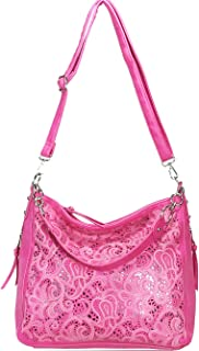 ZzFab Laser Cut Bling Hobo fashion CCW Bag Faux Leather Concealed Carry Purse