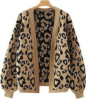WPW Suéter de Mujer Jerséis Cardigans de Manga Larga para Mujer Sudaderas de Punto Otoño Invierno Tops Estilo Leopardo Sue...