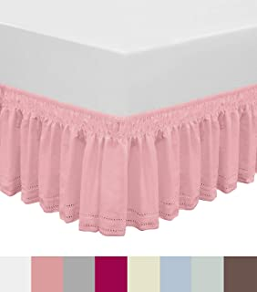 QSY Home Wrap Around Elastic Eyelet Bed Skirts Dust Ruffle Three Fabric Sides Easy On/Easy Off Adjustable Polyester Cotton 14 1/2 Inches Drop(Pink Twin/Full)