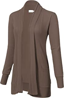 ARC Studio Women's Long Sleeve Open Front Draped Cardigans with Pocket (S-XL)