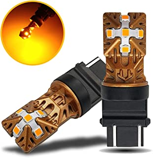 LivTee 3157 3156 3057 3056 4157 LED Bulbs Super Bright Replacement for Turn Signal Blinker Lights, Amber Yellow