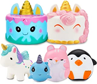 R.HORSE Jumbo Narwhale Cake Squishy Kawaii Cute Unicorn Mousse Cream Scented Squishy Soft Kids Toys Doll Stress Relief Toy Hop Props, Decorative Props Large (6Pack)