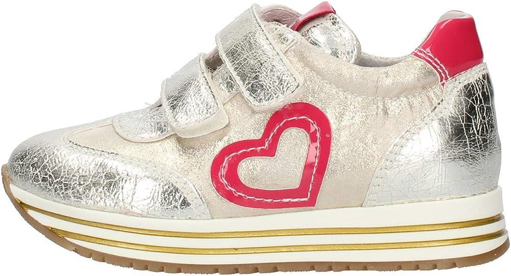 Nero giardini sneakers da bimba in vera pelle laminata con chiusura a strappi. E021440FBIS
