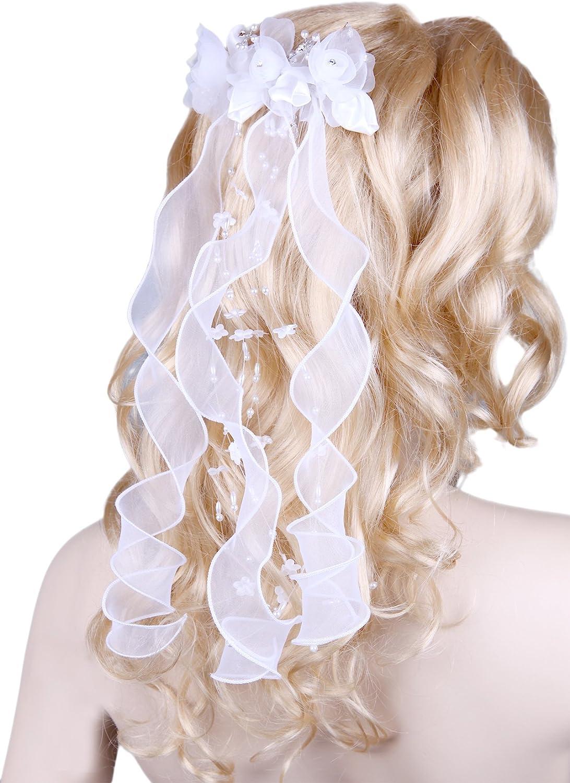 Flora Flower Girl's Communion Headpiece/Bridal Ribbon Bow Veil,Beads & Diamantes