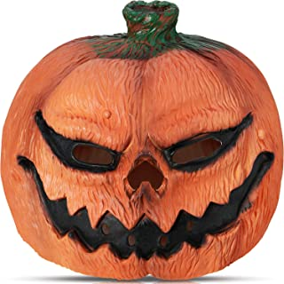 Novelty Halloween Costume Party Latex Pumpkin Head Mask and 16 Pieces Halloween Pumpkin Stickers for Halloween Party Decorations Props