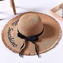 XHCP Sun Hat Women Foldable Floppy Comfortable Large Brim Summer Beach Cap Outdoor Anti-UV Straw Hat Bow Decoration Adjustable Size UPF 30