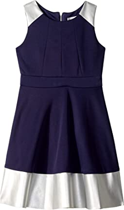 Sleeveless Skater Dress with Metallic Pleather Trim (Big Kids)