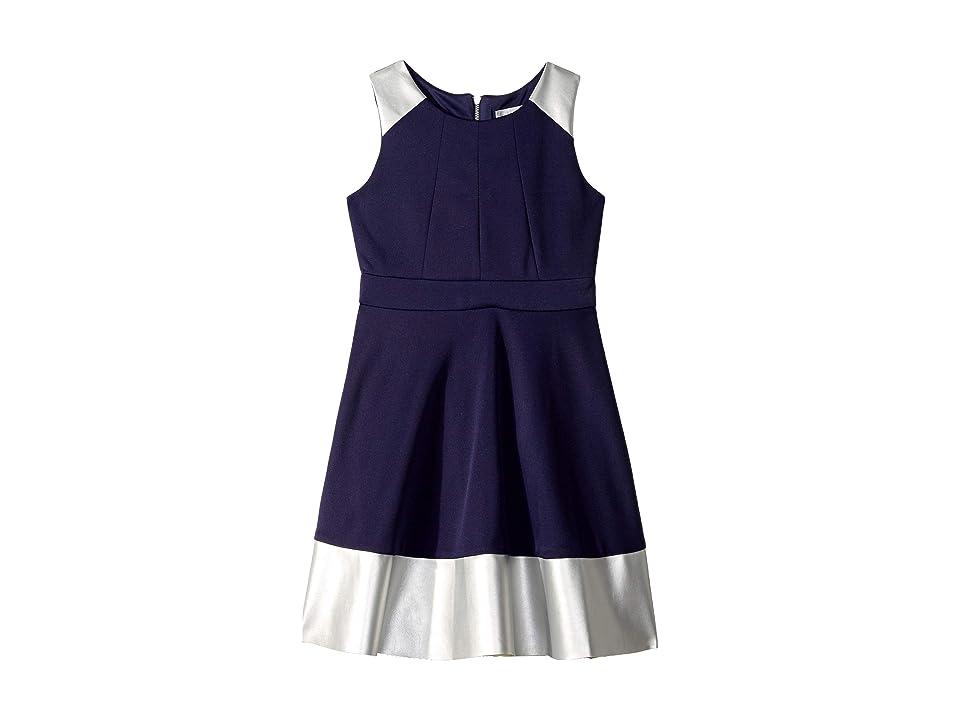 Us Angels Sleeveless Skater Dress with Metallic Pleather Trim (Big Kids) (Navy) Girl