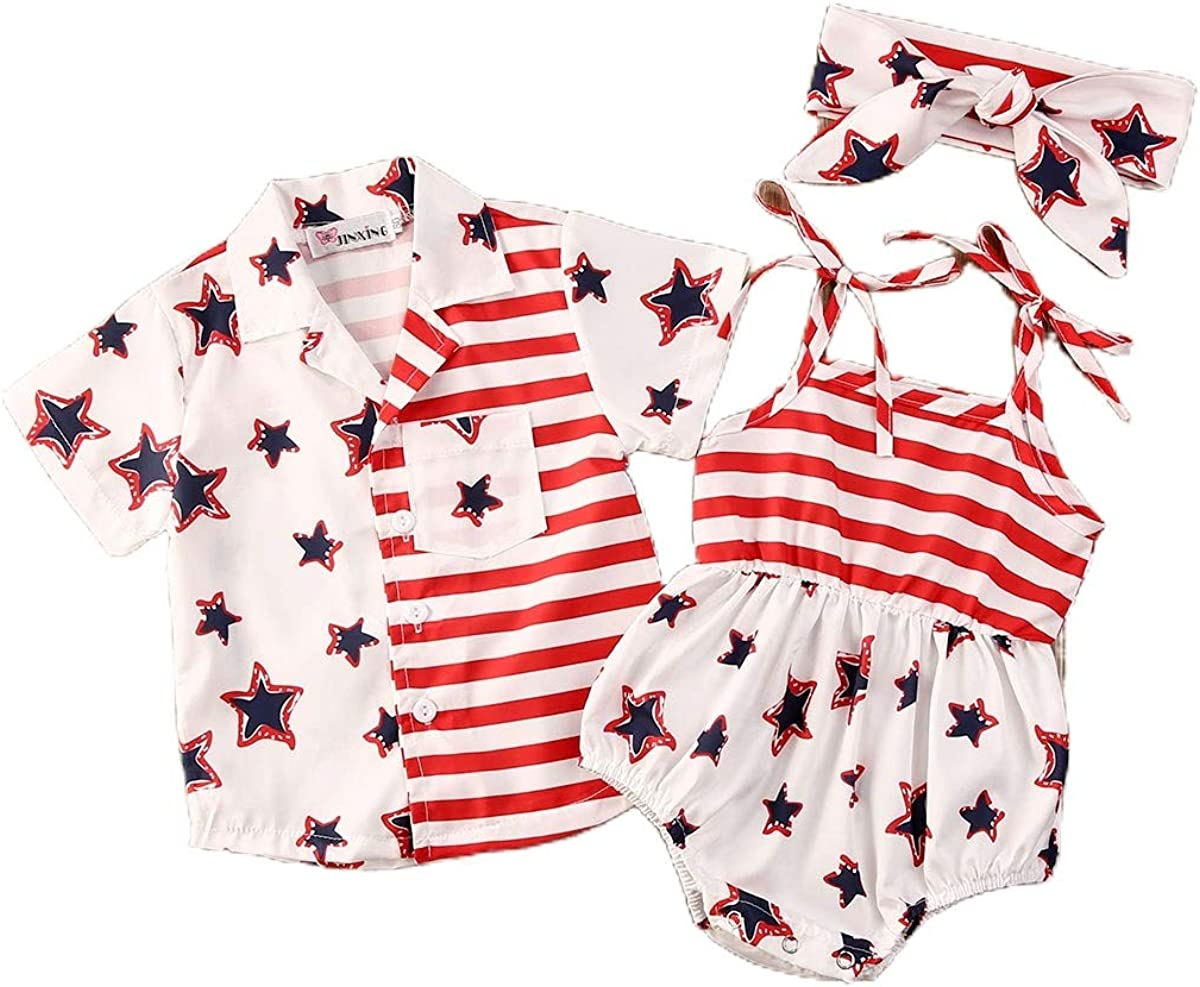 Bonangber Toddler Baby Girls Boys American Flag Shirt or Romper Fourth of July Sibling Matching Outfits