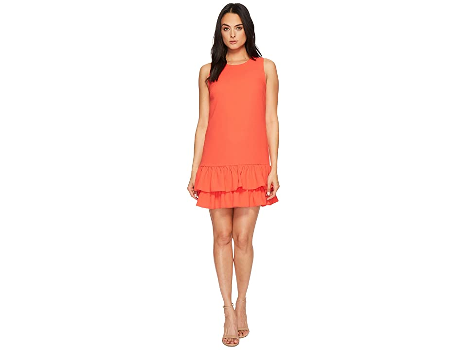 CeCe Macara Sleeveless Ruffle Hem Dress (Coral Crush) Women
