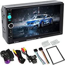Double Din Car Stereo7 inch Double Din Touchscreen Bluetooth Speaker Car RadioAudio Video Player MP5 MP3 Player,Supports Bluetooth/FM/Rear Camera/USB/TF with Remote Control(Black)