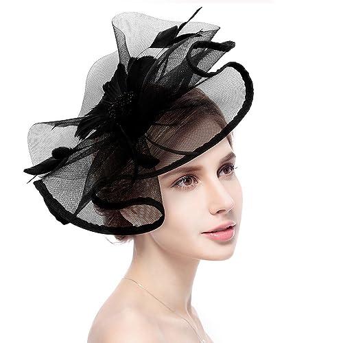 Fascinator Hat Jack   Rose Flower Feather Net Mesh Kentucky Derby Tea Party  Headwear with Hair f3690d5ac88
