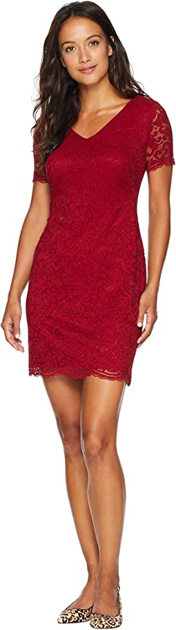 Petite Panel Lace Gordy Short Sleeve Day Dress