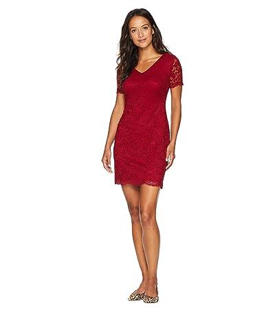 LAUREN Ralph Lauren Petite Panel Lace Gordy Short Sleeve Day Dress (Vibrant Garnet) Women