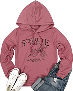 ALLTB Schrute Farms Drawstring Hooded Women Beet Funny Graphic Sweatshirt Long Sleeve Sweater Pullover with Pocket