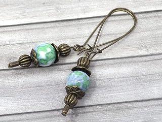 Orecchini vintage in bronzo e giada bianca tingersi di blu e verde