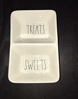 Rae Dunn Magenta Ceramic Double Dish TREATS? SWEETS