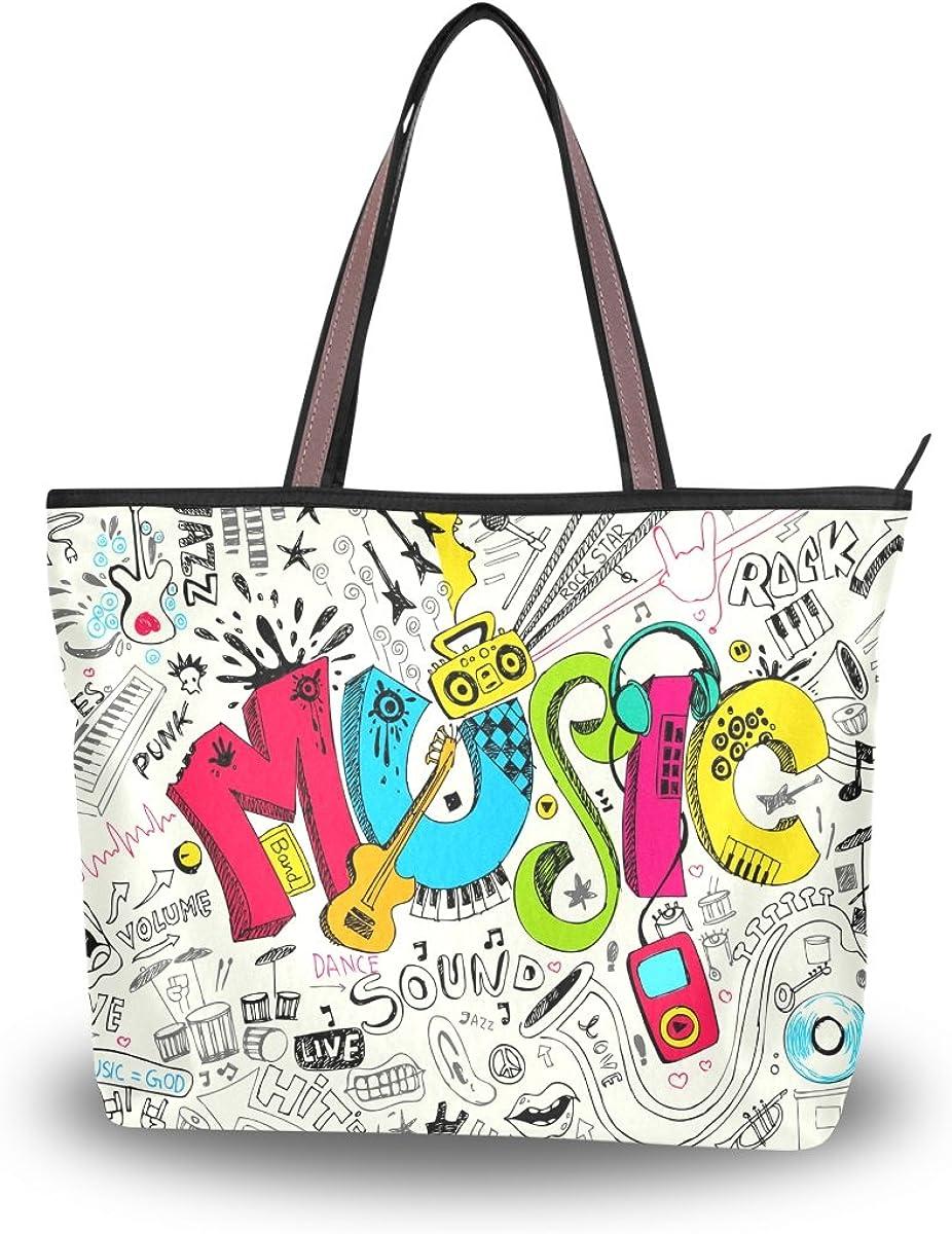JSTEL Women Large Tote Top Handle Shoulder Bags Music Patern Ladies Handbag L