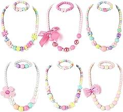 گردنبند PinkSheep Beaded و دستبند Beads برای کودکان، 6 مجموعه، مجموعه های طلا و جواهر برای دختران، کیف های دخترانه را ترجیح می دهد