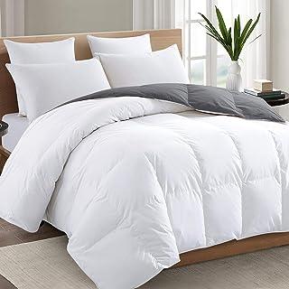 Sponsored Ad - TEXARTIST Full Size White/Gray Comforter Soft Quilted Down Alternative Duvet Insert with Corner Tabs, All S...
