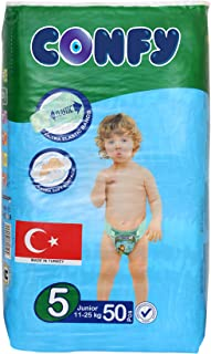 Confy Diapers, Size 5, Junior 11–25 kg, Value Pack. 50 diaper count