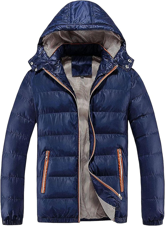 Men's Removable Hooded Full Zip Down Alternative Waterproof Puffer Jacket