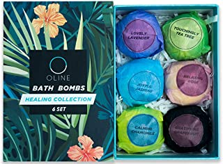 Oline Naturals Bath Bombs Gift Set 6 Extra Lush & Perfect for Spa & Bubble Bath, Handmade All Natural and Organic (6PC)