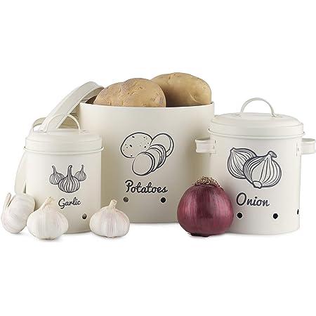 Navaris Set Boîtes Rangement Légumes - 3X Pot Rétro pour Conservation Pomme de Terre Oignon et Ail - 3X Bac de Cuisine en Fer - Design Vintage