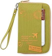 M square Travel passport wallet holder safety documents organizer case (Short Green Stamp)