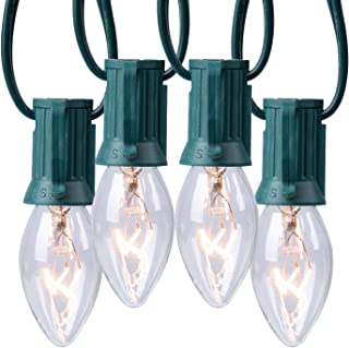 C9 Clear Christmas String Light Set, 25ft Vintage Christmas Tree Lights, Outdoor Roofline String Lights with 25 Clear Bulbs for Patio Garden Holiday Indoor Wedding Home Decorating, Green Wire