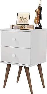 Mesa De Cabeceira com 2 gavetas e pé retrô 30cm - Branco - Candy - Mania de Móveis