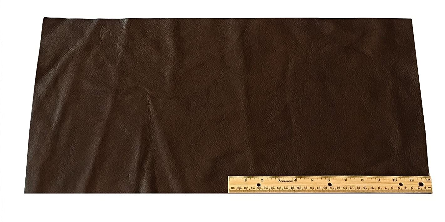 Upholstery Leather Piece Cowhide Dark Brown Light Weight 2 SF 12 x 24 inches