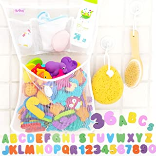 36 Bath Toys Letters & Numbers + The Original Toy Organizer by Tub Cubby + Quick Dry Storage Net + Lock Tight Suction Hooks & 3M Stickers - Sure Not to Fall.