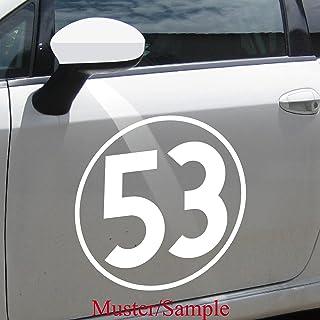 Aufkleber Tattoo 53 weiß 15cm Auto Folie Racing Startnummer Nummer Herbie Nr