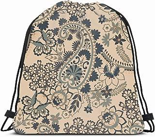 Ahawoso Gym Drawstring Bags Backpack String Bag 14X16 Pattern Paisley Leaves Fantastic Flower Vintage Indian Leaf Turkish Damask Floral Medallion Carpet Sport Sackpack Hiking Yoga Travel Beach