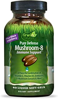 Irwin Naturals Pure Defense Mushroom-8 Powerful & Robust Immune Support Supplement with 8 Organic Mushroom Blend, Vitamin ...