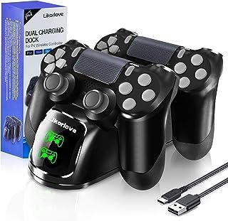 PS4 Controller-oplader, Likorlove Docking-opladerstandaard met USB-kabel en LED voor Sony Playstation 4 / PS4 Slim / PS4 P...