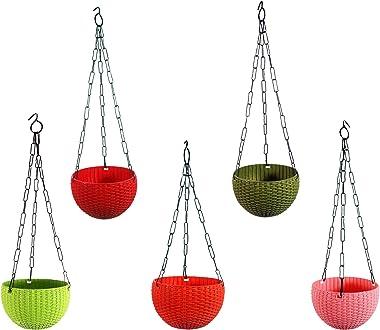 DECORKITE Hanging Pot | Hanging Flower pots |Hanging Flower pots for Home Decoration-Multicolor (Pack of 5)