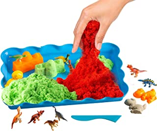 ToyVelt Play Sand Dinosaur Toys, and Dinosaur Figures Set - Set Incl 14 Molds and 3 Bags of Sand Extra 12 Dinosaur Toys - Gift for Boys and Girls Age 3 -12 Years Old
